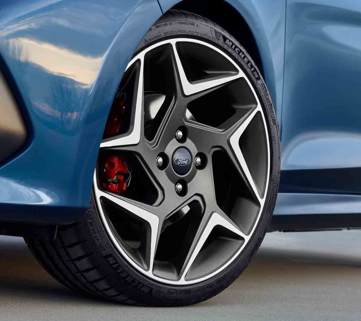Blue Ford Fiesta ST front wheel detail