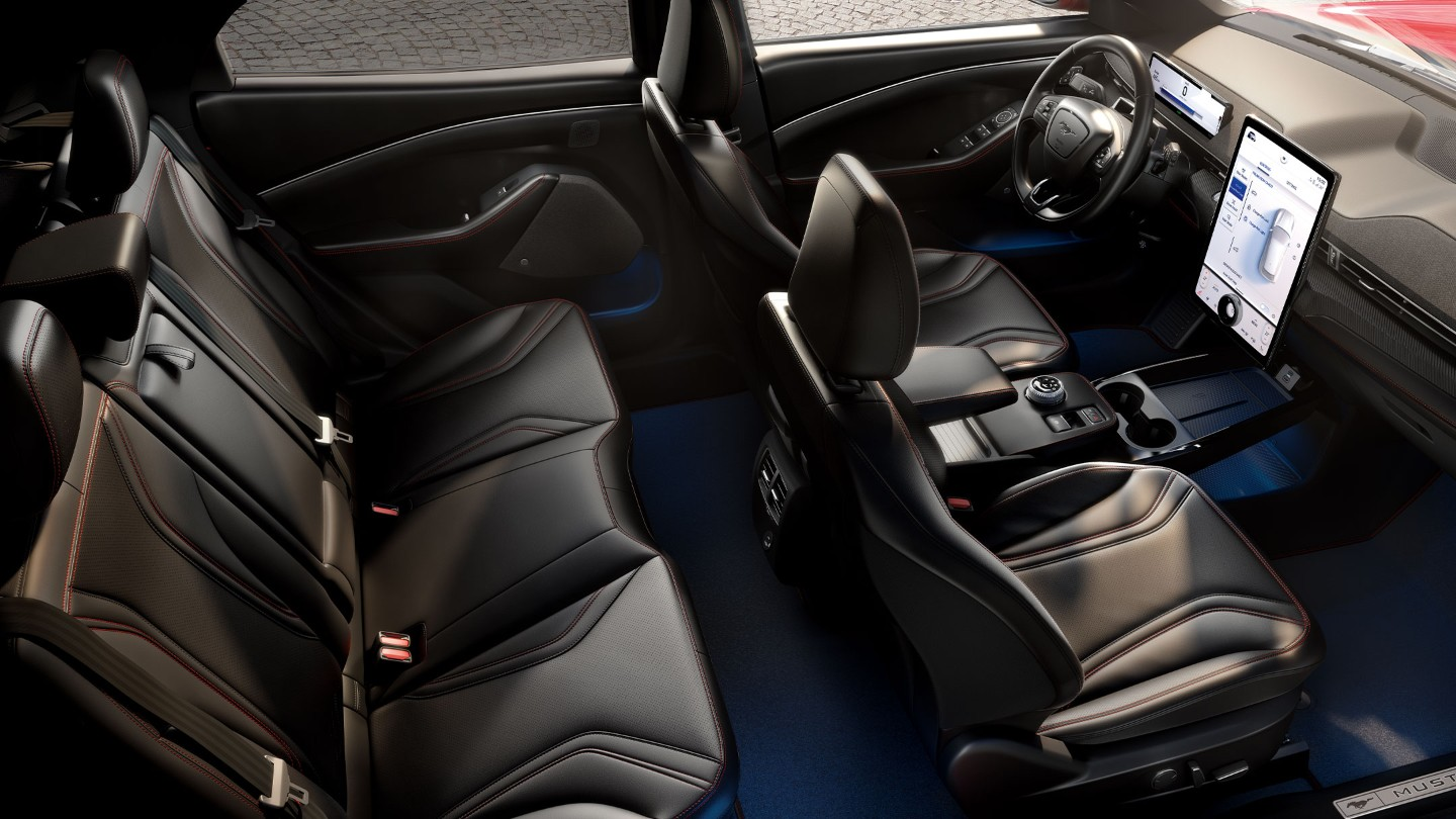 All-New Ford Mustang Mach-E interior with the seats and the next Generation SYNC screen