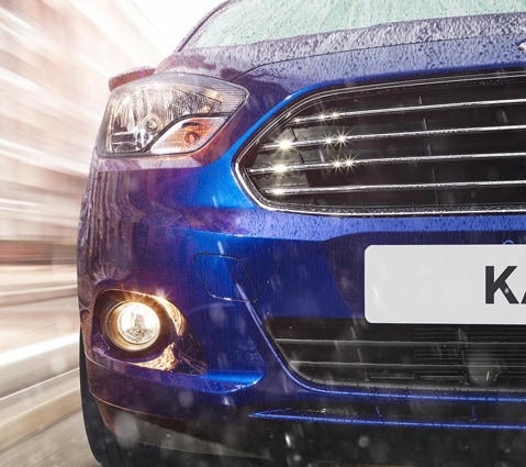 Blue Ford KA+ front view of grille close-up