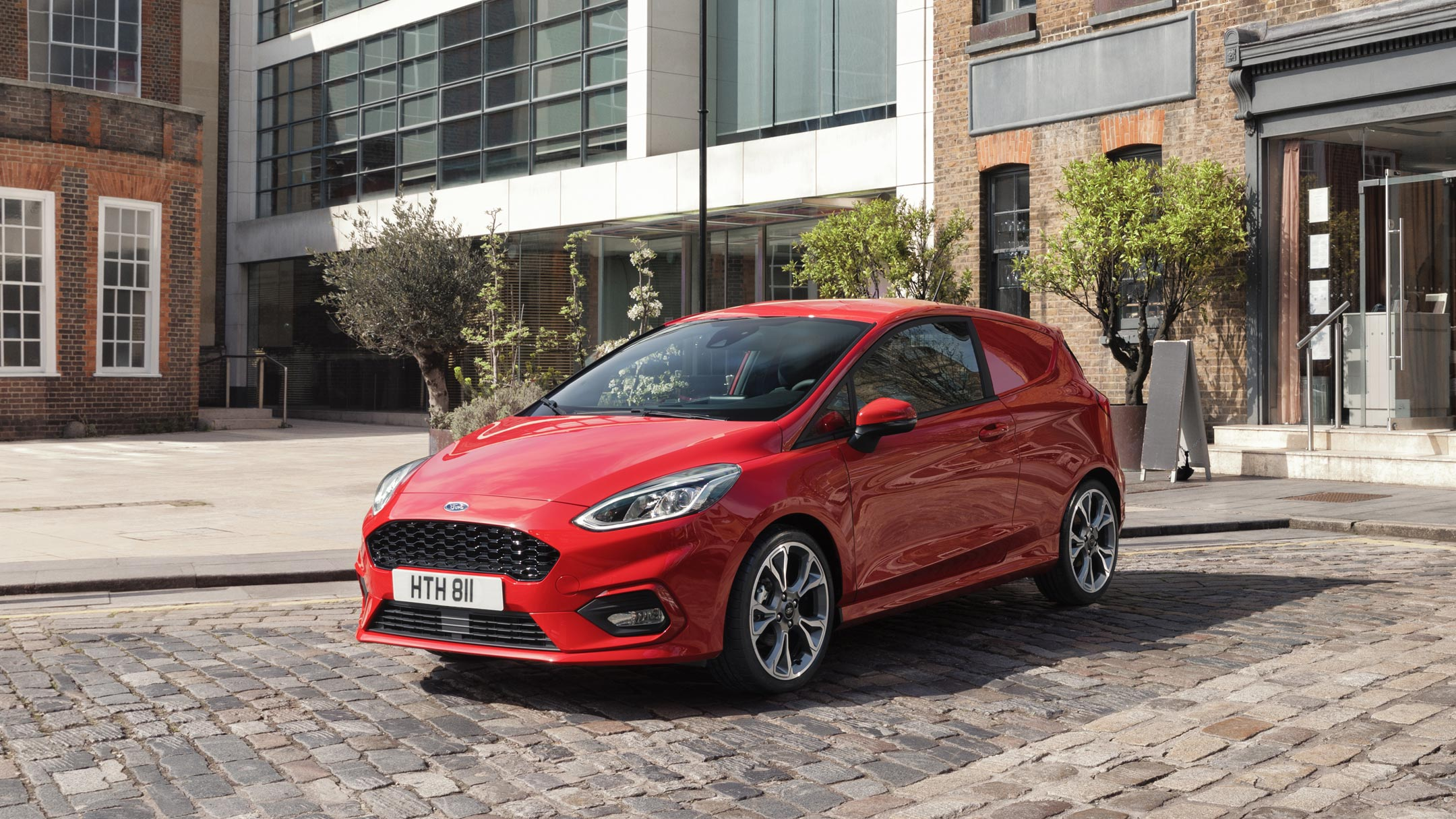 Red Ford Fiesta Van exterior
