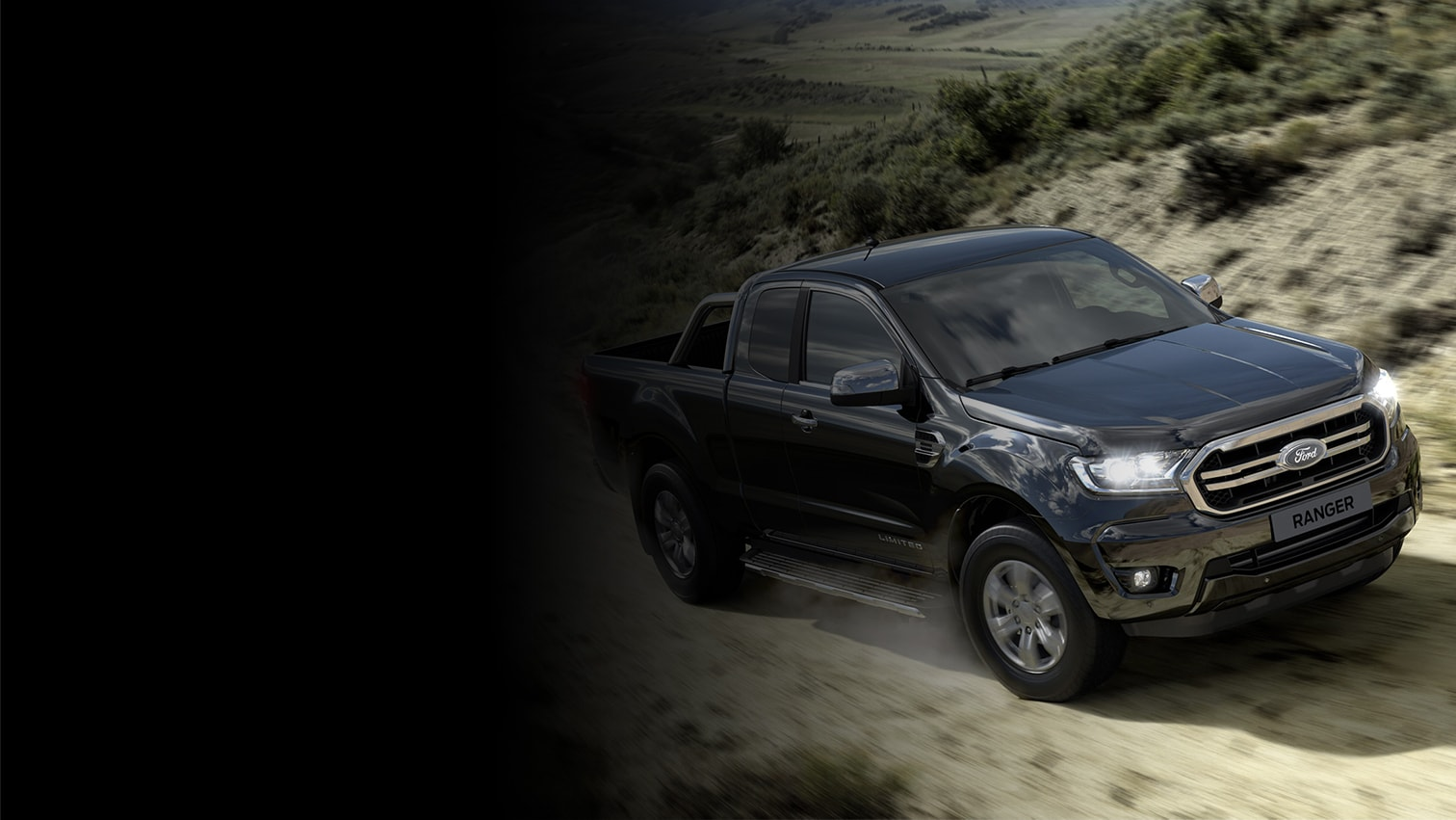 Ford Ranger Super Cab driving on rural road