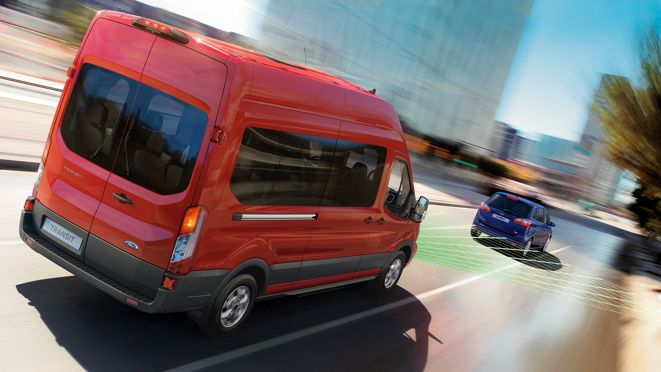 Ford Transit Minibus trailing another car with Adaptive Cruise Control