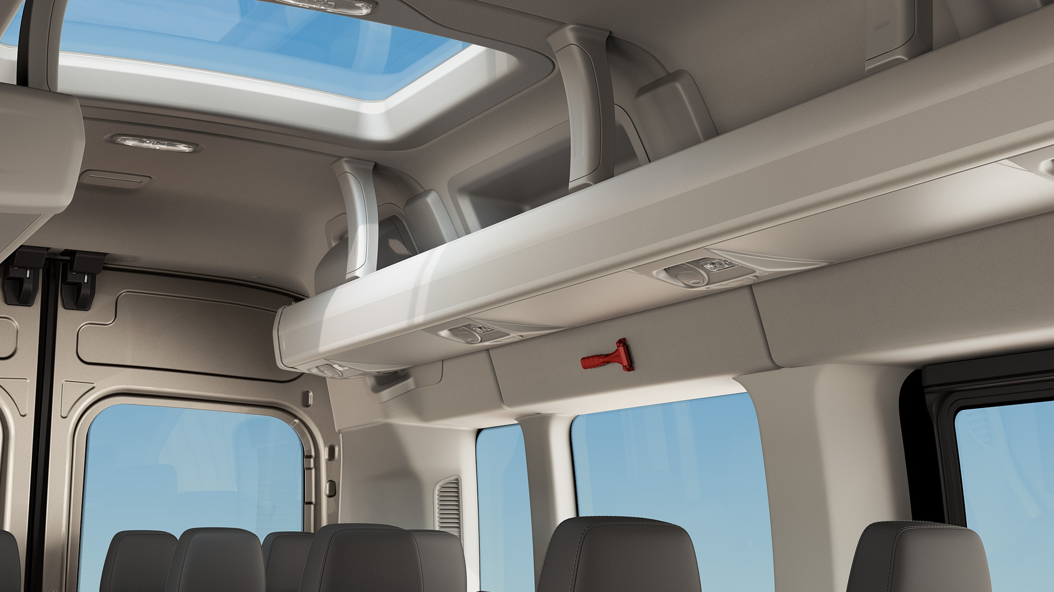 All New Ford Transit Minibus rear interior roof close up