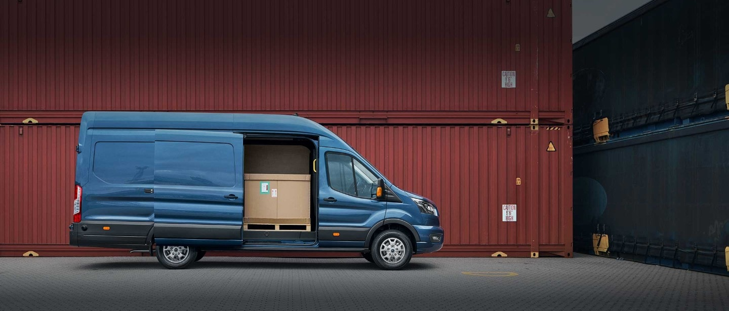 New Blue Ford Transit Van side view with side door open