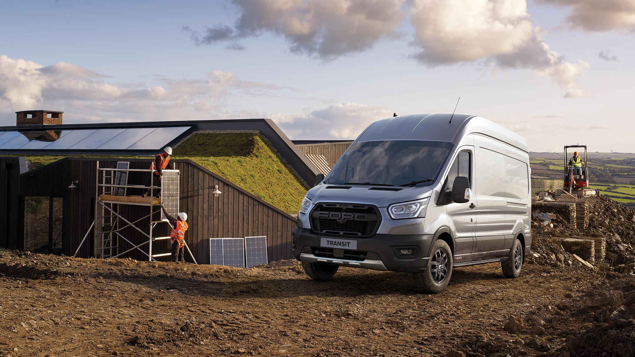 New Ford Transit Van Trail front in rural building site