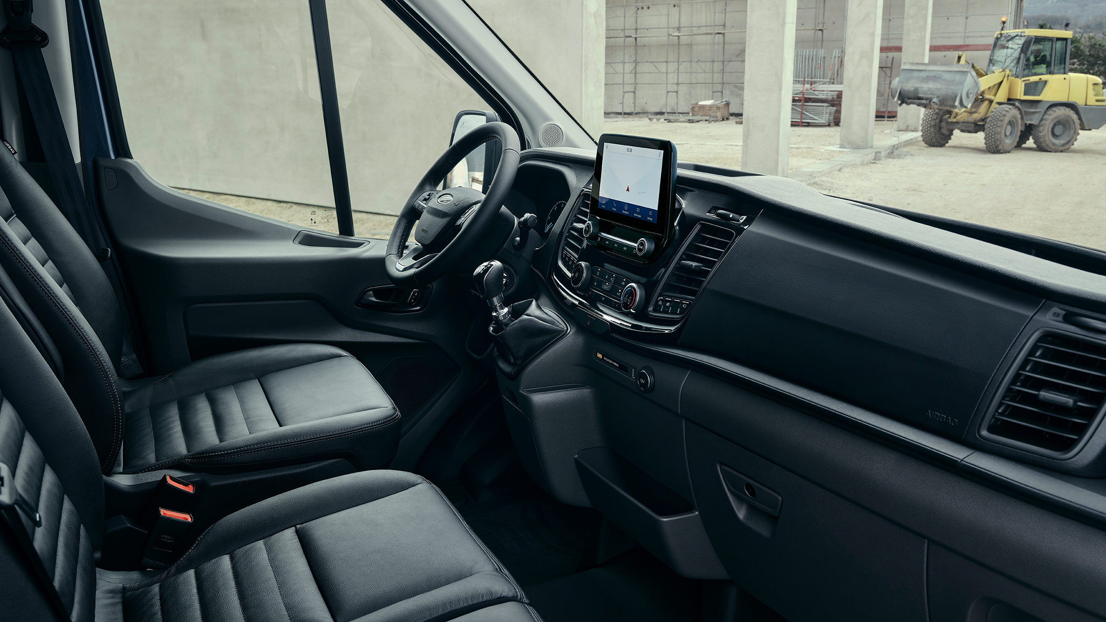 New Ford Transit Van Trail Interior with dashboard and steering wheel
